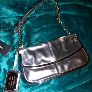 AUTH DOLCE & GABBANA SILVER LEATHER SHOULDER BAG